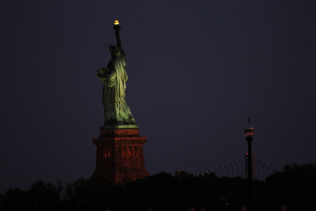 Statue of Liberty at Night from New Jersey Stock fotó