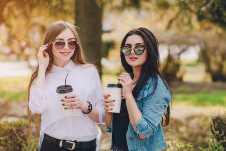 ifestyle: Girls walking around the city and make selfie