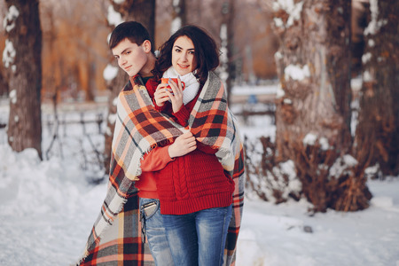 Couple love snow and cold