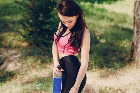 sports girl in park