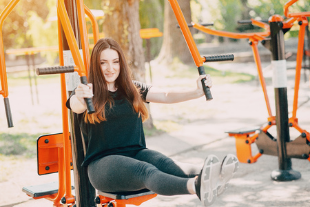 Fitness girl on a walk Stock Photo