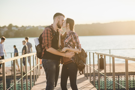 loving couple on a walk Stock Photo