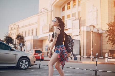 young girl walking in the city