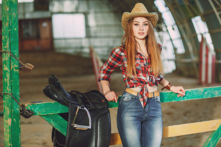 girl in the barn