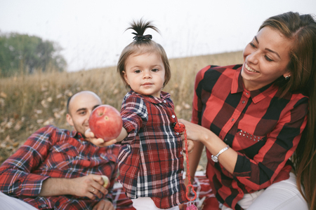 family in a field Stock Photo