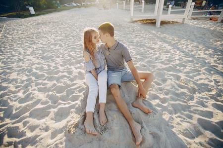 couple in a beach Banco de Imagens