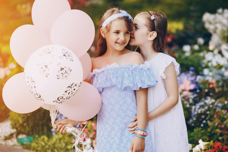 Children with ballons Stock Photo