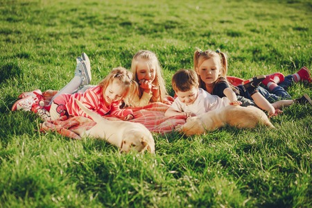 children with dog Stock Photo