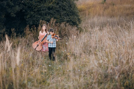 family in a field 写真素材