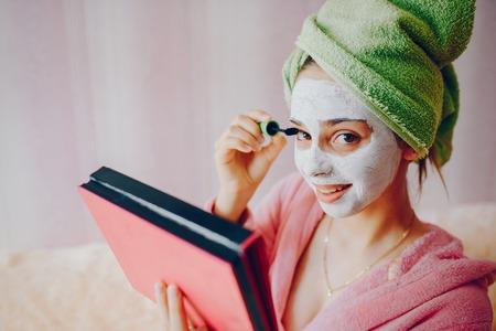 Girl with mascara Stock Photo