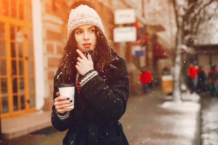 girl with coffee Archivio Fotografico