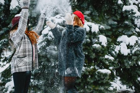 girls in winter park happy and joyful
