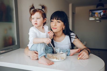 mother with cute daughter