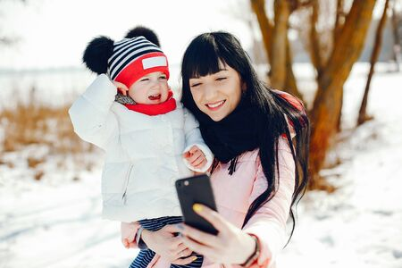 Mother with little daughter 写真素材