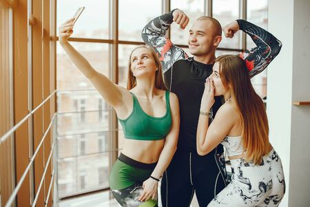 sporty friends in a gym Stock Photo