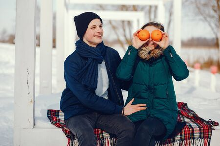 couple in a winter Stock Photo