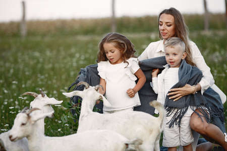 Mother with two children feeds goat in the park. Stock Photo