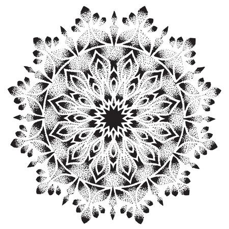 Mandala graphique à la main avec un brillant, un diamant avec des motifs, des ornements. Tattoo, dotwork diamond