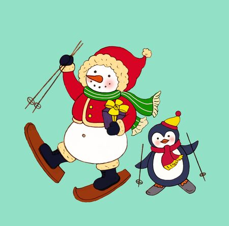 Snowman and penguin skiing together Archivio Fotografico - 129414557