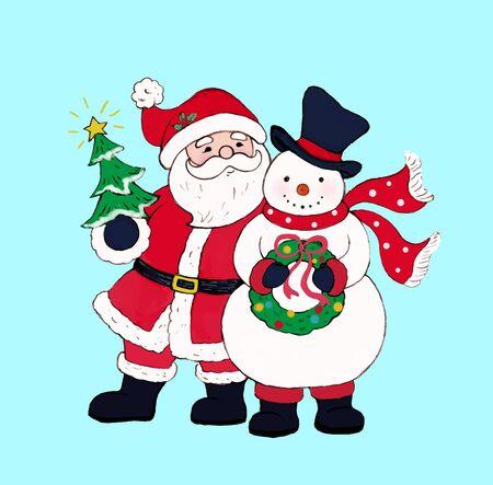 Santa Claus with snowman holding a wreath