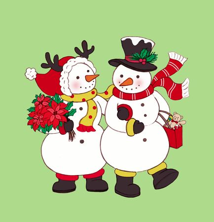 Snowmen shopping together at Christmas time