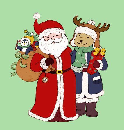 Deer and Santa Claus Christmas Card 일러스트