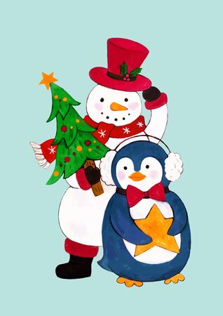 Penguin with snowman wearing a hat