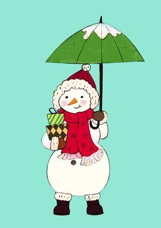 Winter snowman holding an umbrella Archivio Fotografico - 129414583