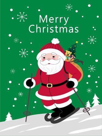 Santa Claus skiing in the snow Archivio Fotografico - 129414593