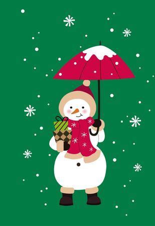 Winter snowman holding an umbrella Archivio Fotografico - 129414605