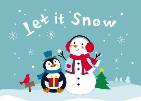Schneemann und Pinguin genießen Schnee im Schnee Vektorgrafik