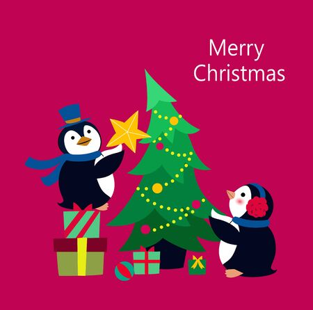 Penguin decorating the Christmas tree