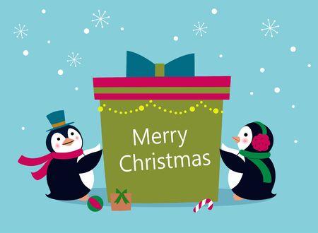 Penguin holding a gift bag 일러스트