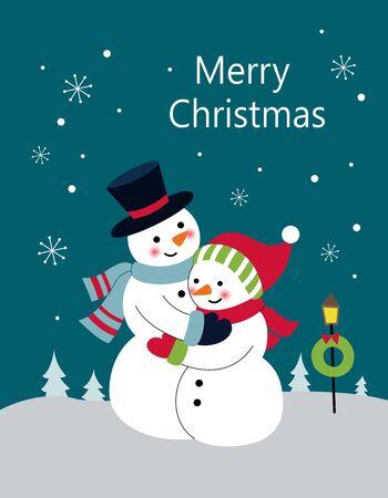 Hugging snowman in the snow 일러스트