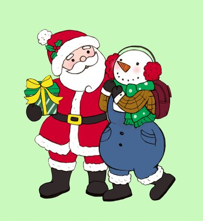 Santa Claus goes out with a snowman to give a present Archivio Fotografico - 129414617