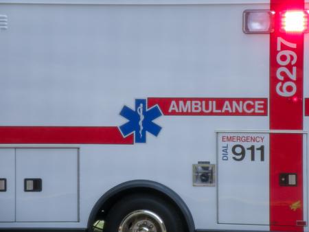 Dettaglio ravvicinato dell'ambulanza Archivio Fotografico