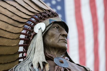 Native American Indian Chief and American Flag