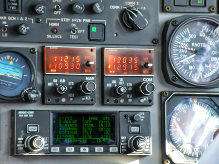 Dials, Switches, buttons, and controls on and Airplane Instrument Panel