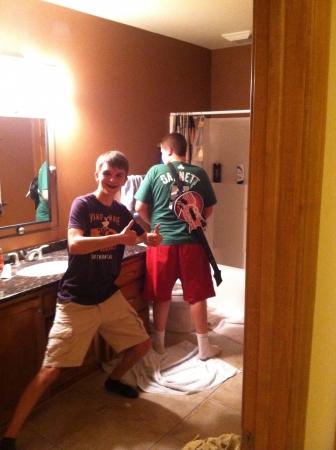 Fun time in the bathroom Stok Fotoğraf