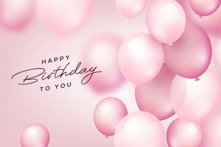Birthday celebration and party background with pink flying balloons for Birthday and Anniversary poster. Vector illustration. Vector Illustratie