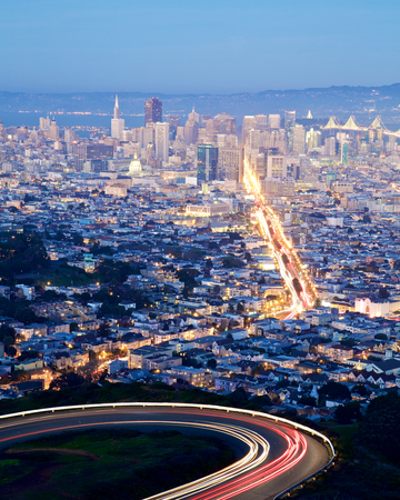 transamerica: San Francisco cityscape and city lights at night Stock Photo