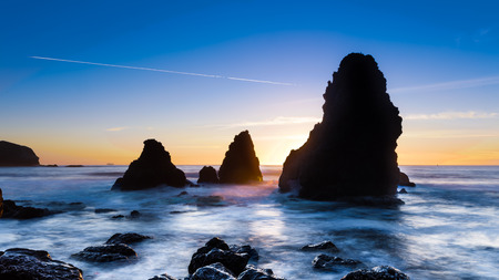 marin: Sunset at Rodeo Beach in Marin, California Stock Photo