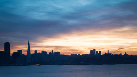 valley: San Francisco skyline at sunset with dramatic clouds