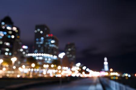 francisco: Bokeh and blur of San Francisco skyline at night