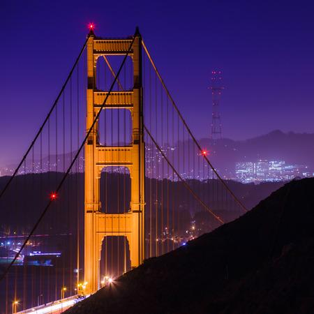 san francisco golden gate bridge: San Francisco Golden Gate Bridge and Sutro Tower at Night