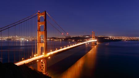 san francisco golden gate bridge: San Francisco Golden Gate Bridge and cityscape at night Stock Photo