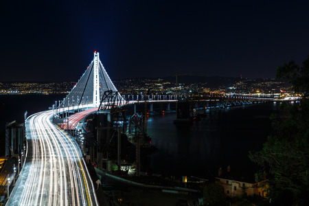 span: New span of the San Francisco-Oakland Bay Bridge illuminated at night