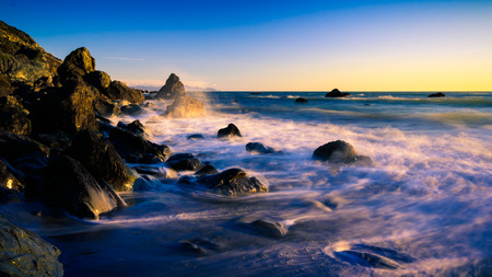 muir: Ocean waves and rocks at Muir Beach, California