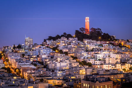 sf: San Francisco cityscape and Coit Tower on Telegraph Hill