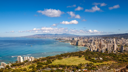 diamond head: View of Waikiki Beach and Honolulu Skyline from Diamond Head